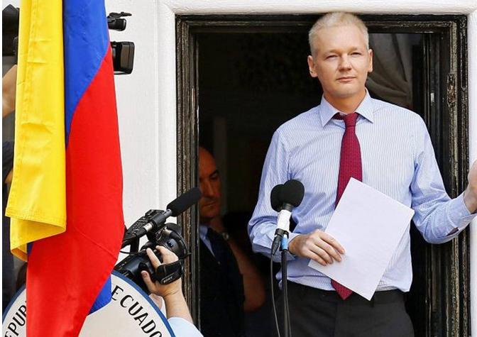 Assange at Ecuadorian Embassy June 16, 2013