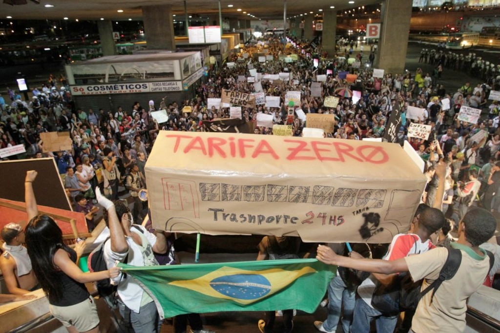 Brazil Protest With Bus  saying Zero Tariffs