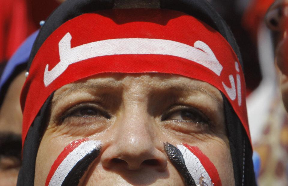 Egyptian protester, bandana says Leave