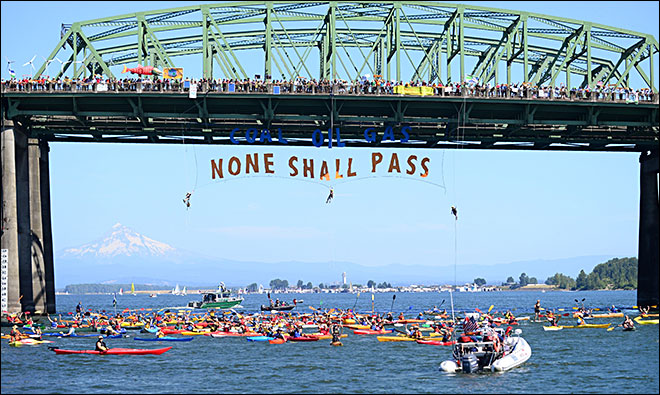 Fossil Fuel Bridge Protest None Shall Pass