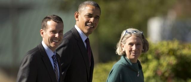 Obama with David Plouffe and Anita Dunn