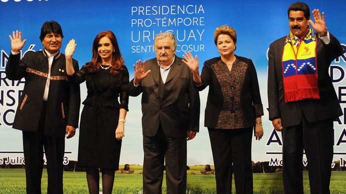 Presidents Evo Morales of Bolivia, Cristina Fernandez de Kirchner of Argentina, Jose Mujica of Uruguay, Dilma Rousseff of Brazil and Nicolas Maduro of Venezuela