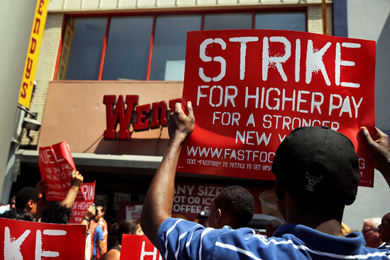 Fast Food Workers Strike, Protest Low Wages