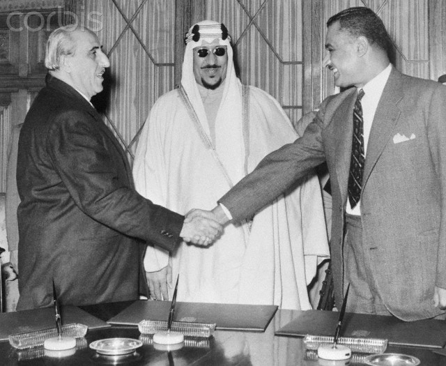 King Saud with Shukry El Kuwatly and Gamal Abdel Nasser