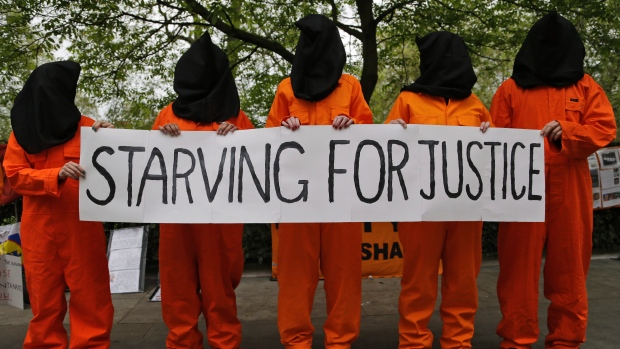 Starving for Justice protest in support of Guantanamo Bay prisoner hunger strike.