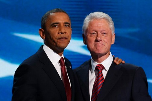 Barack Obama and Bill Clinton share a moment at the 2012 Democratic National Convention. (Getty Images)