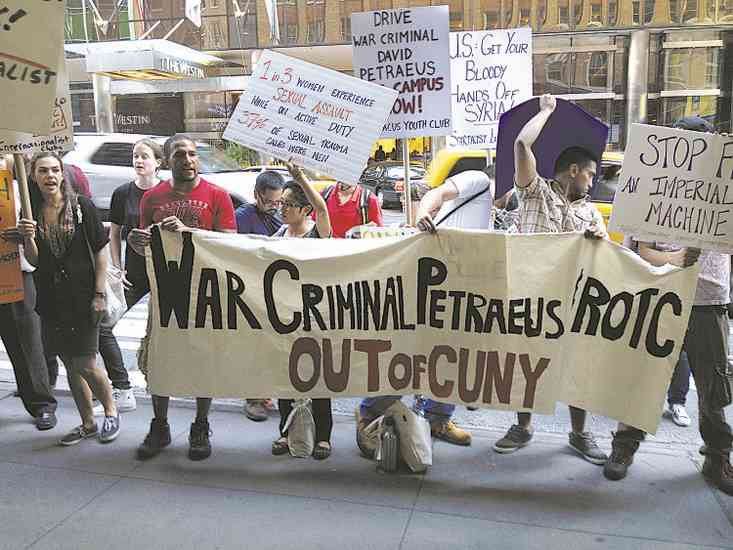Patraeus protest CUNY