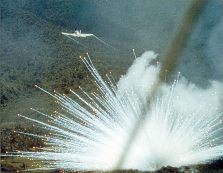 U.S. Air Force dropping white phosphorus on NLF guerrillas in Vietnam, 1966. (photo National Museum of the U.S. Air Force)