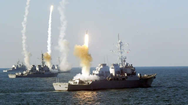 Weapons being fired from US war ships