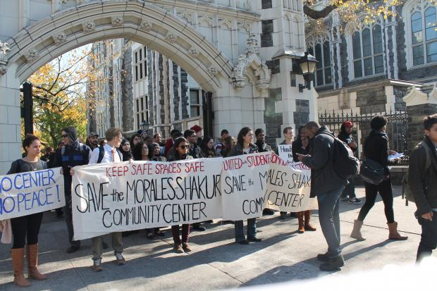 City College students march through Hmilton Heights in Harlem to protest closure of Morales-Shakur Center, by Jeff Mays
