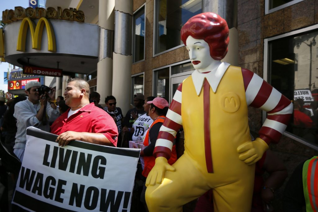 Fast food workers living wage now with ronald mcdonald