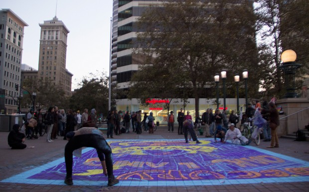 Occupy Oakland Two Year Anniversary, Chalking
