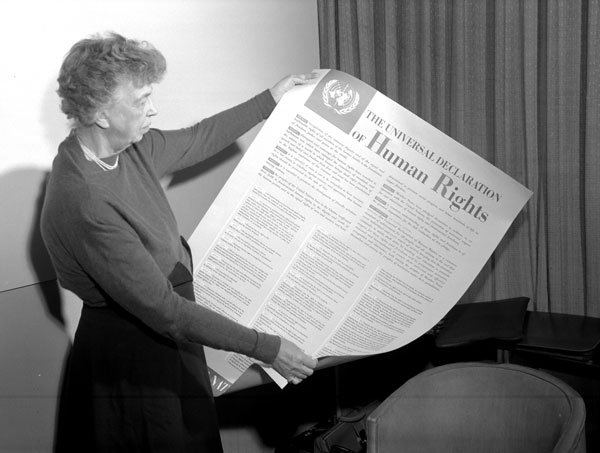 Universal Declaration of Human RIghts Eleanor Roosevelt holding copy