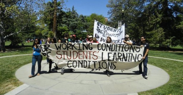 "Graduate student employees at the University of California - Davis hold a ""grade-out"" to protest ballooning class sizes on May 1. (Photo courtesy of UC Student Workers Union—Davis)"