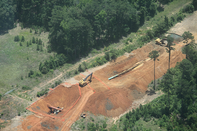 KXL Many excavations on hillsides for possible anomalies were seen such as this site near Lufkin, Texas.