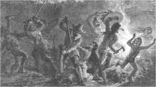 "The English commander John Mason declared that the attack against the Pequot was the act of a God who ""laughed his Enemies and the Enemies of his People to scorn making [the Pequot] as a fiery Oven . . . Thus did the Lord judge among the Heathen, filling [Mystic] with dead Bodies."" The Narragansett and Mohegan warriors with the English were horrified by the actions and ""manner of the Englishmen's fight . . . because it is too furious, and slays too many men."" The Narragansett returned home and no longer participated in the war. This image is courtesy of forquignon.com."