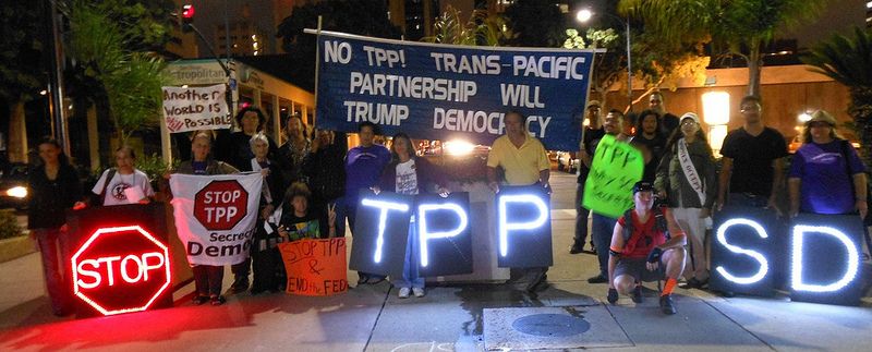 TPP protest with lights