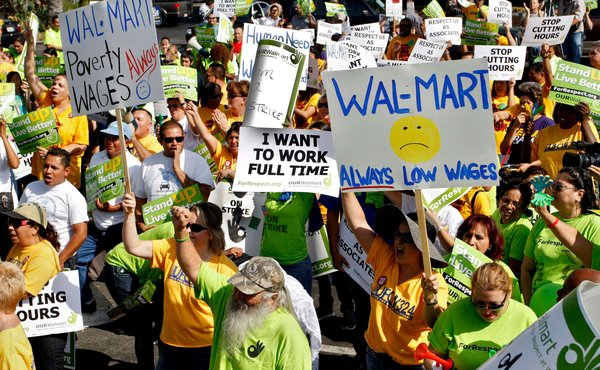 Walmart workers rallied outside a store in Pico Rivera, Calif. in October (Jonathan Alcorn Reuters)