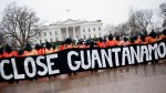 Protestors rally in front of the White House to demand that President Obama keep his promise and shut down the detention center at Guant¡namo Bay. By Pete Marovich/Zuma.