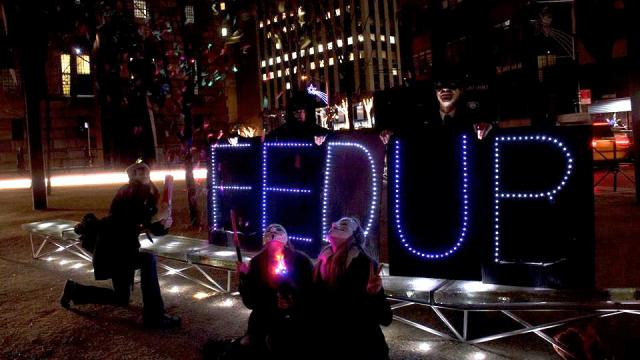Federal Reserve protest Fed Up Lights