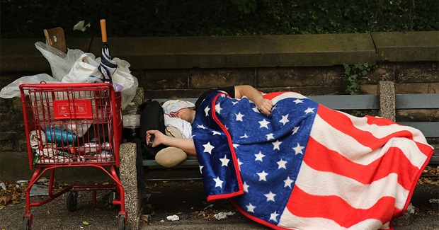 Homeless sleeping in American Flag