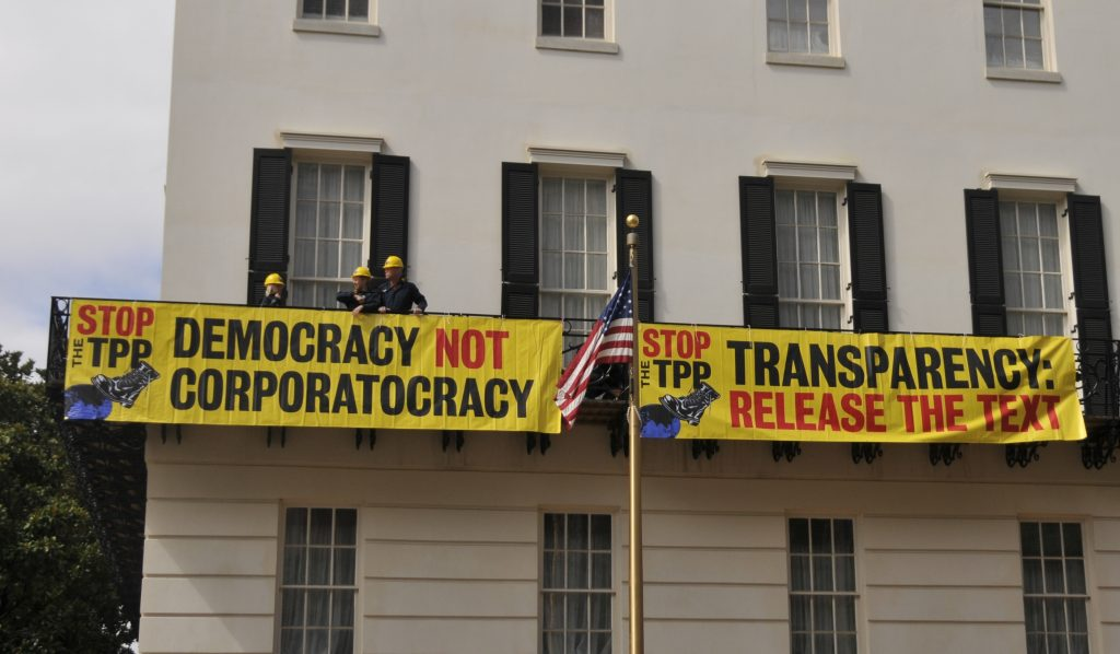 TPP USTR protest two banners by DC Media Group