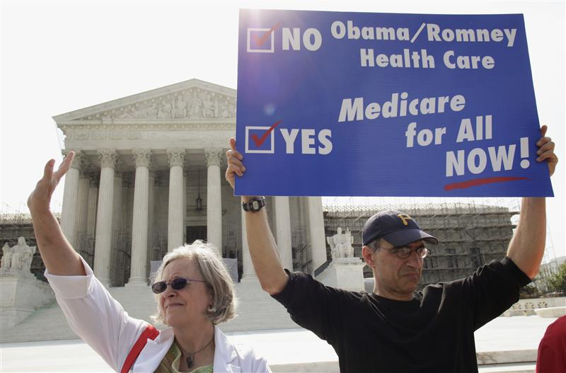 Doctors protest against individual mandate in President Obama's health care reform in front of U.S. Supreme Court in Washington