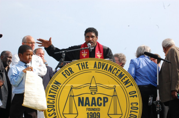 Rev Barber NAACP sign