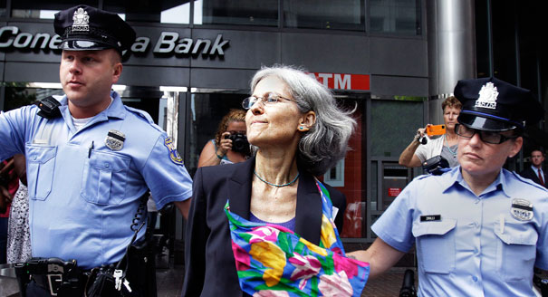 Jill Stein was arrested August 1, 2013 in Philadelphia and charged with trespassing during a protest against Fannie Mae against housing foreclosures. AP.