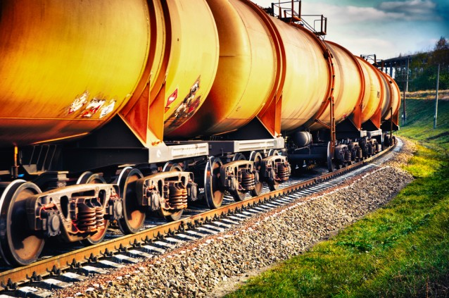 Train carrying oil from Shutterstock