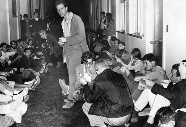 Mario Savio leading the occupation of the administration building, Sproul Hall.