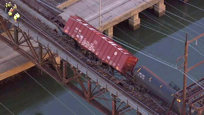 Bakken Shale oil train derailed over the Schuylkill River in Philadelphia on January 20th, 2014. Photo NBC Chicago SkyForce
