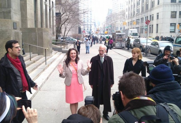 Cecily McMillan with Marty Stoler press conference first day of trial