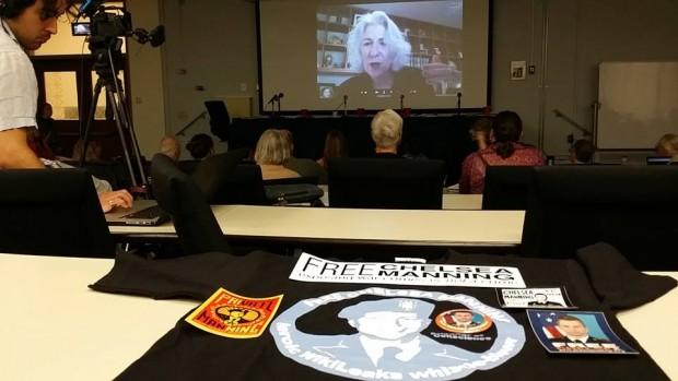 Nancy Hollander speaking at Manning event April 13, 2014 by Christine Ann Sands