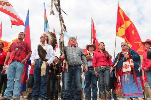 COwboy Indian Alliance Tribal leaders gather at Reject and Protect in Washington, D.C., last week. (WNV by Kristin Moe)