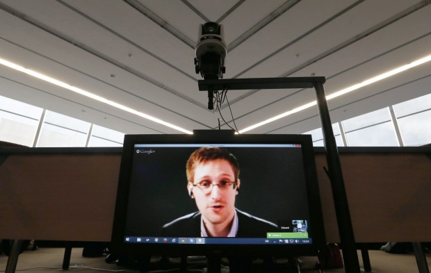 Snowden on television screen