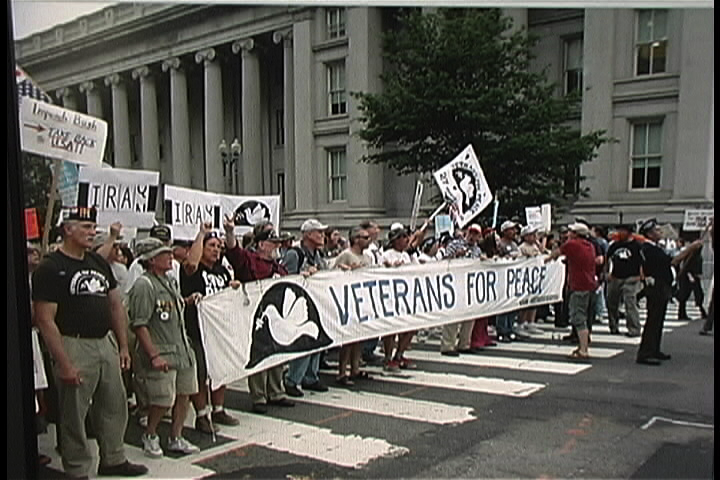 Vets for peace march banner