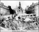Boston Massacre showing the death of the first casualty, Crispus Attucks. In reality, the vast majority of Africans in America fought against the revolution seeking to end their enslavement.