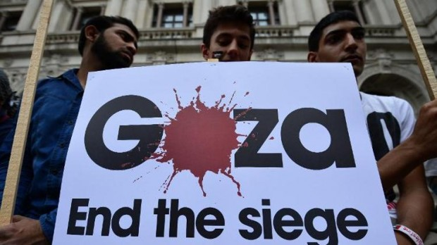 Israel protests in London, Protesters take part in demonstration against Israeli airstrikes in Gaza, through the streets of central London, on July 19, 2014 (AFP Photo-Carl Court)
