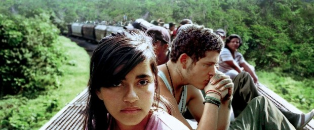 Latin American youth on train