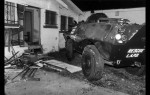 Six ton armored vehicle with 14 foot steel battering used by LAPD SWAT team in drug raids, Photo by Jack Gaunt for Los Angles Times