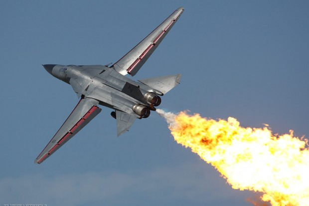 Military aircraft burning fuel