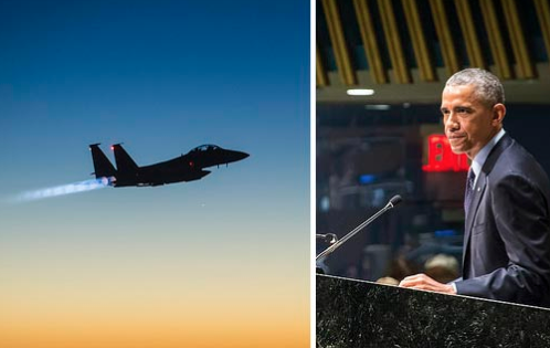 Left: A U.S. Air Force F-15E Strike Eagle aircraft flies over northern Iraq after conducting airstrikes in Syria, September 23, 2014. Right: President Obama at the UN Climate Summit, September 23, 2014. (Photo: Senior Airman Matthew Bruch / U.S. Air Force, John Gillespie / United Nations)