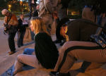 An Iowa State Patrol trooper places handcuffs on Jessica Resnick of Des Moines during an Occupy World Food Prize rally at the State Capitol grounds on Thursday, Oct. 16, 2014, in Des Moines, Iowa. (Photo: Bryon Houlgrave, The Register)