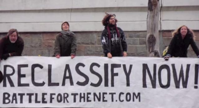FCC Net Neutrality Reclassify Now banner drop