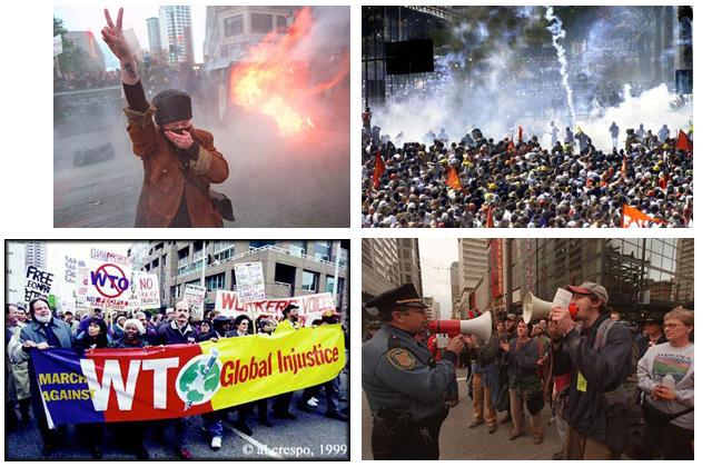 "Images of the 1999 ""Battle in Seattle"" protests against the WTO. Credits, clockwise, starting from top left: Unknown, image found at http://omgthe90s.tumblr.com/; IndyMedia Ireland ; Al Crespo, University of Washington Digital Collections; Harley Soltes/The Seattle Times."