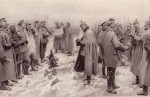 Christmas Truce From The Illustrated London News of January 9, 1915. 'British and German Soldiers Arm-in-Arm Exchanging Headgear A Christmas Truce between Opposing Trenches'