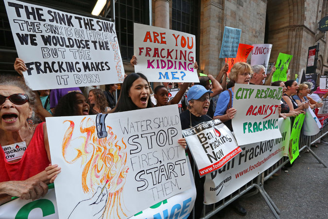 Fracking protest outside of an Andrew Cuomo fundraiser. Source New York Times