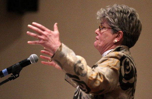 The Very Rev. Tracey Lind of Trinity Episcopal Church, co-chair of Greater Cleveland Congregations, speaks in favor of Ohio Medicaid expansion at a GCC meeting in January 2013. (Thomas Ondrey / The Plain Dealer)