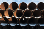 A depot used to store pipes for Transcanada Corp's planned Keystone XL oil pipeline in Gascoyne, North Dakota. Photograph: Andrew Cullen/Reuters